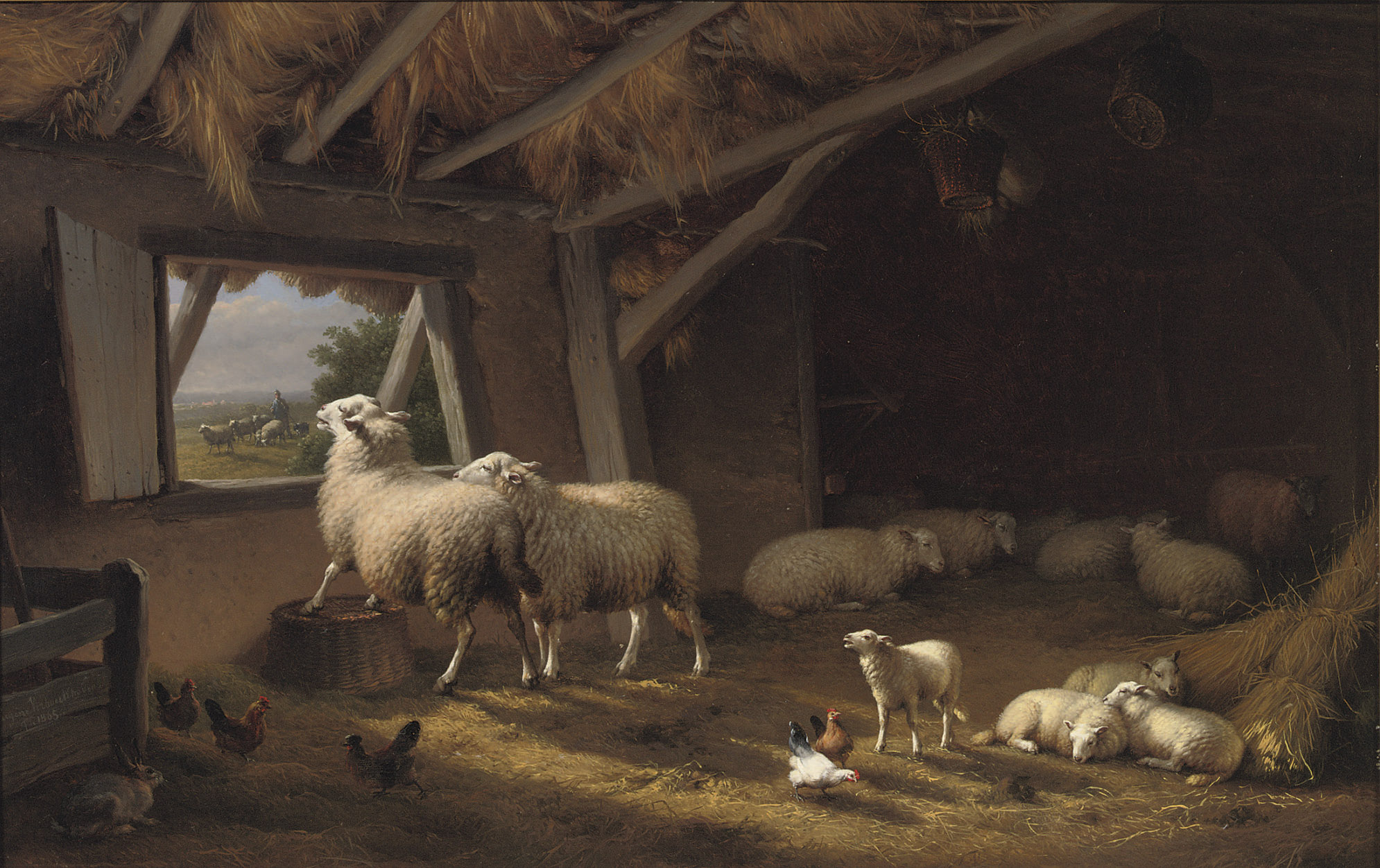 Sheep, chickens and a hare in a barn
