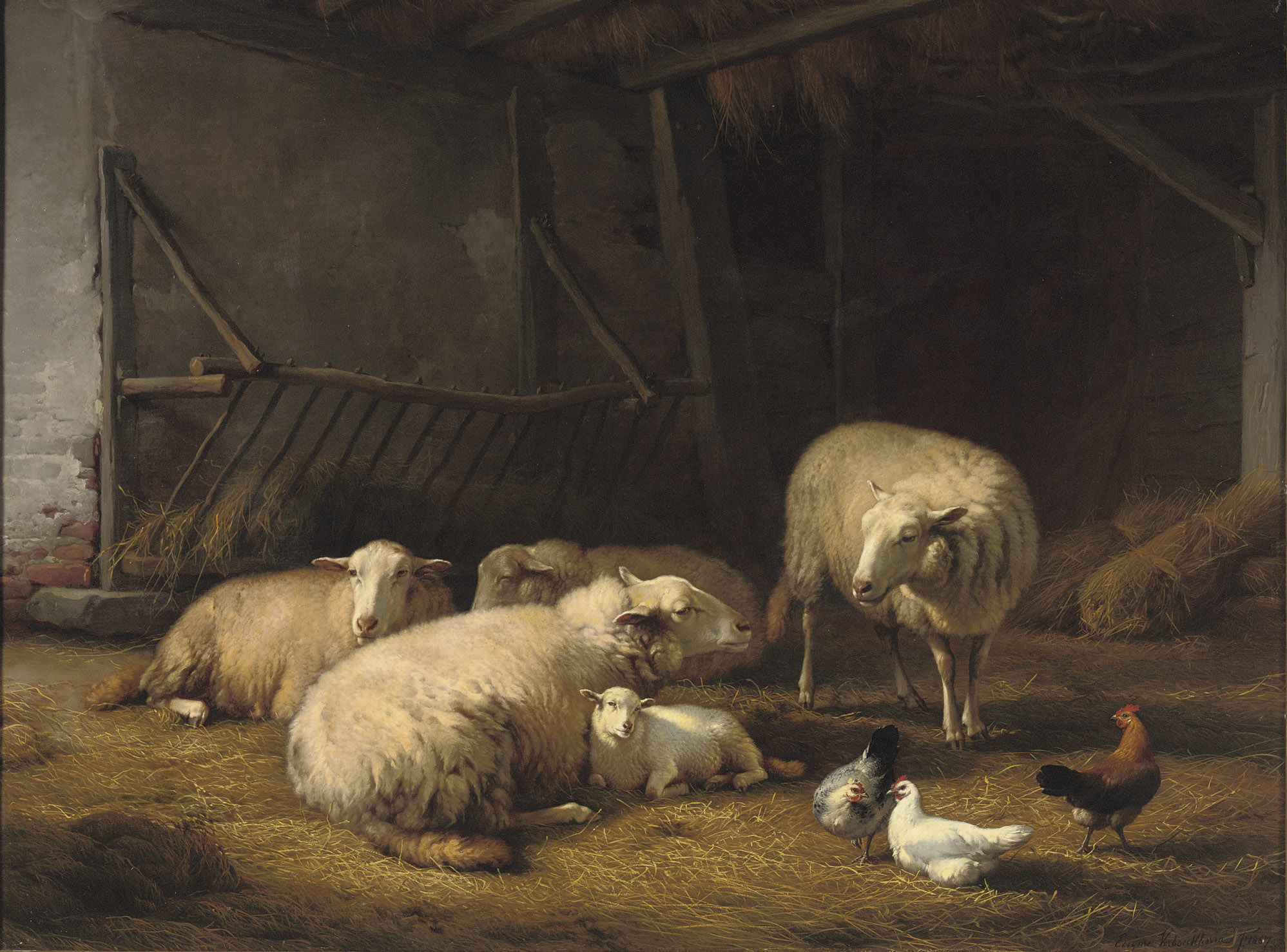 A barn with sheep and chickens