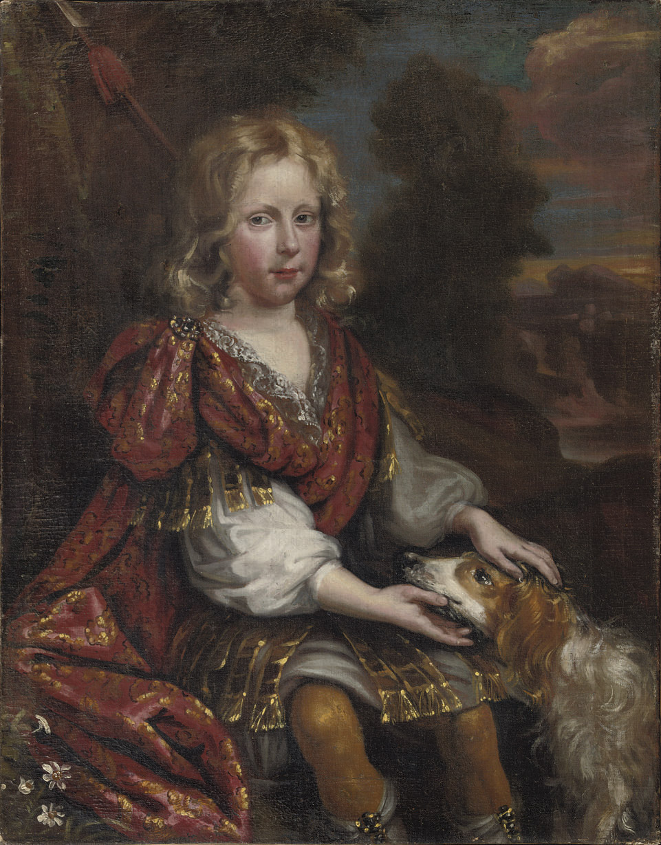A portrait of a boy and a dog, in a river landscape