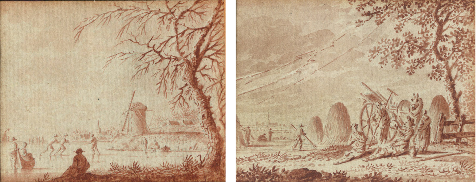 Farmers harvesting the hay; and A winter landscape with skaters on the ice
