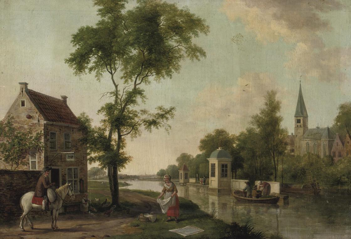 A teahouse, probably along the river Vecht, near Utrecht