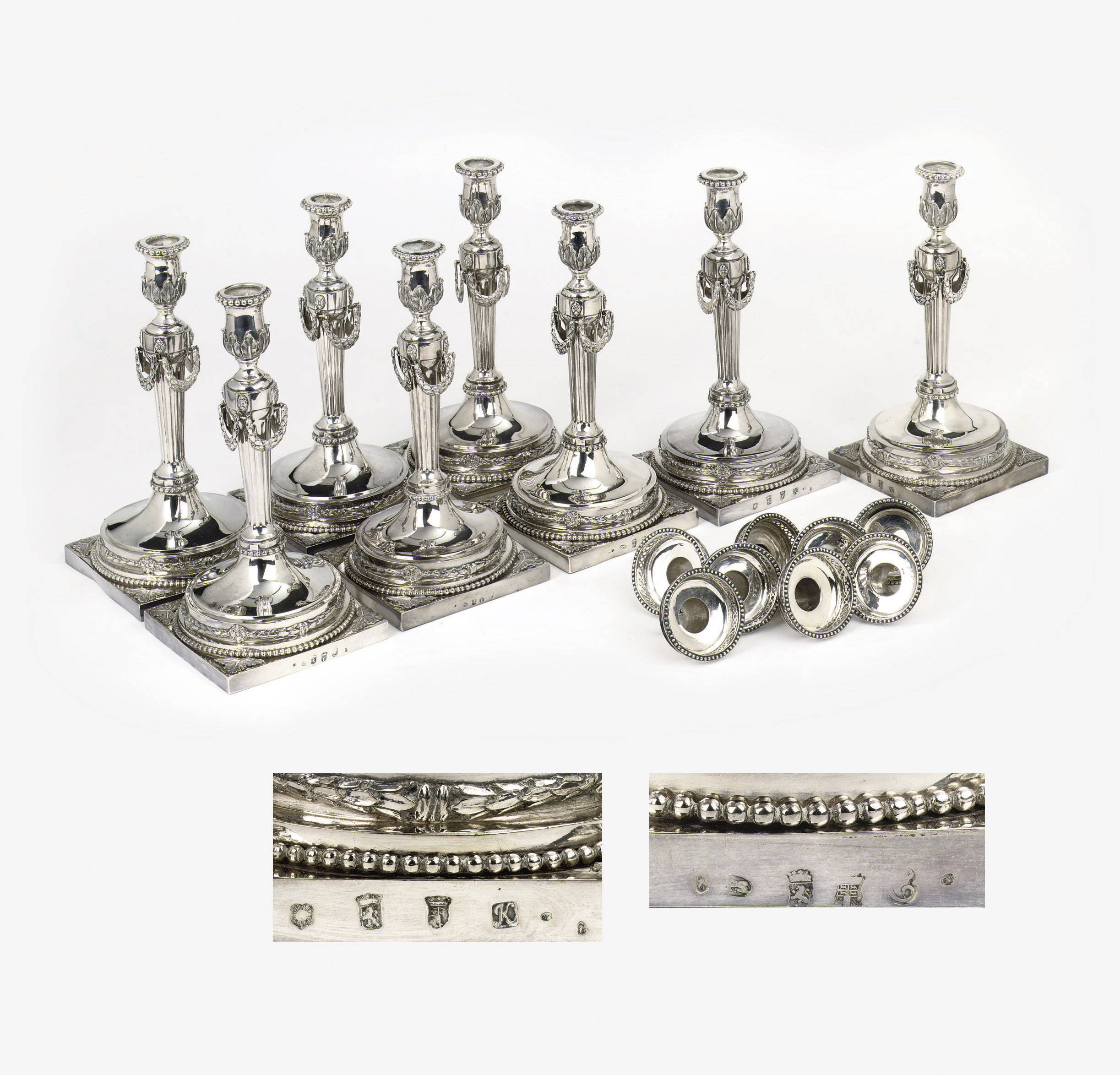 A matched set of eight Dutch silver candlesticks