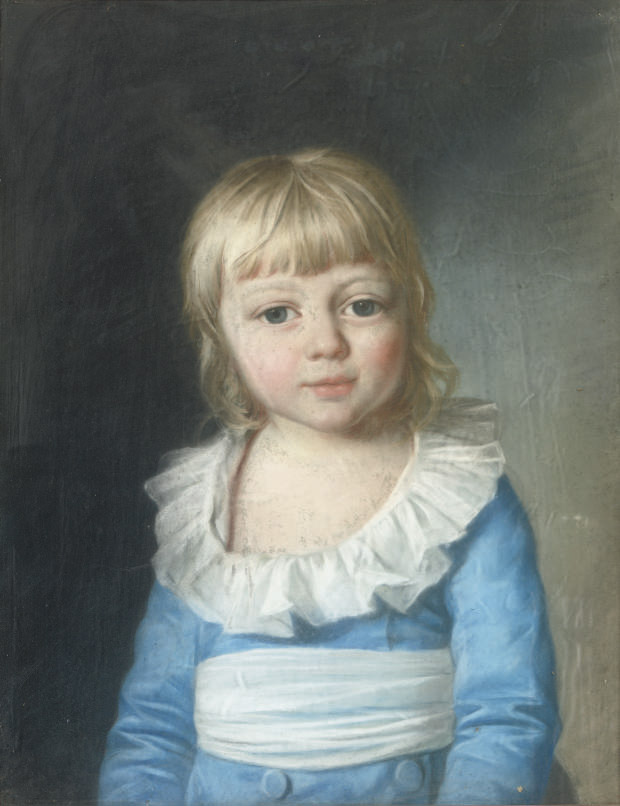 Portrait of Duke Paul von Württemberg, half-length, circa three years old (?-1860), wearing a blue costume