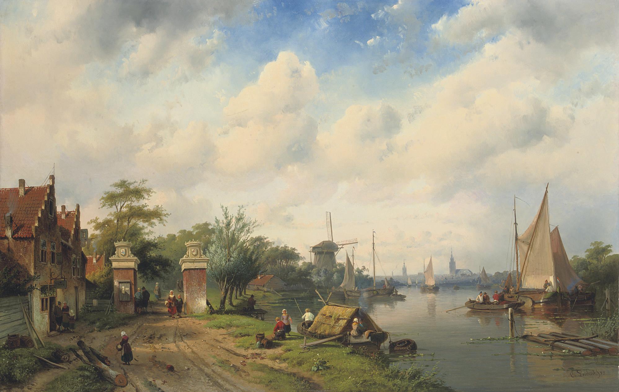 A river landscape in summer