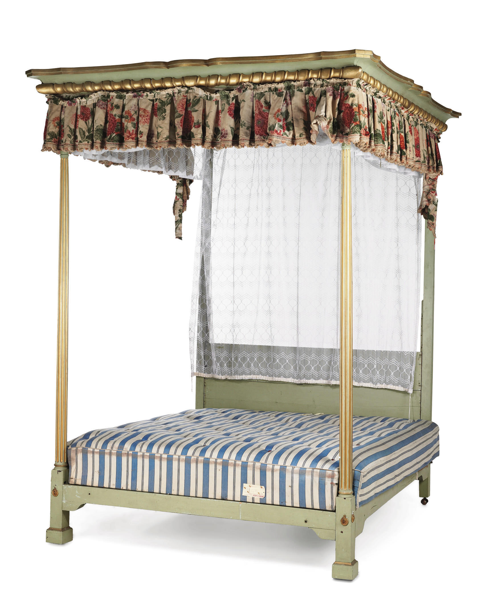 A PALE GREEN-PAINTED AND PARCEL-GILT MAHOGANY FOUR POSTER BED
