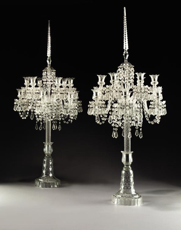 A PAIR OF ENGLISH CUT GLASS TWELVE-LIGHT CANDELABRA