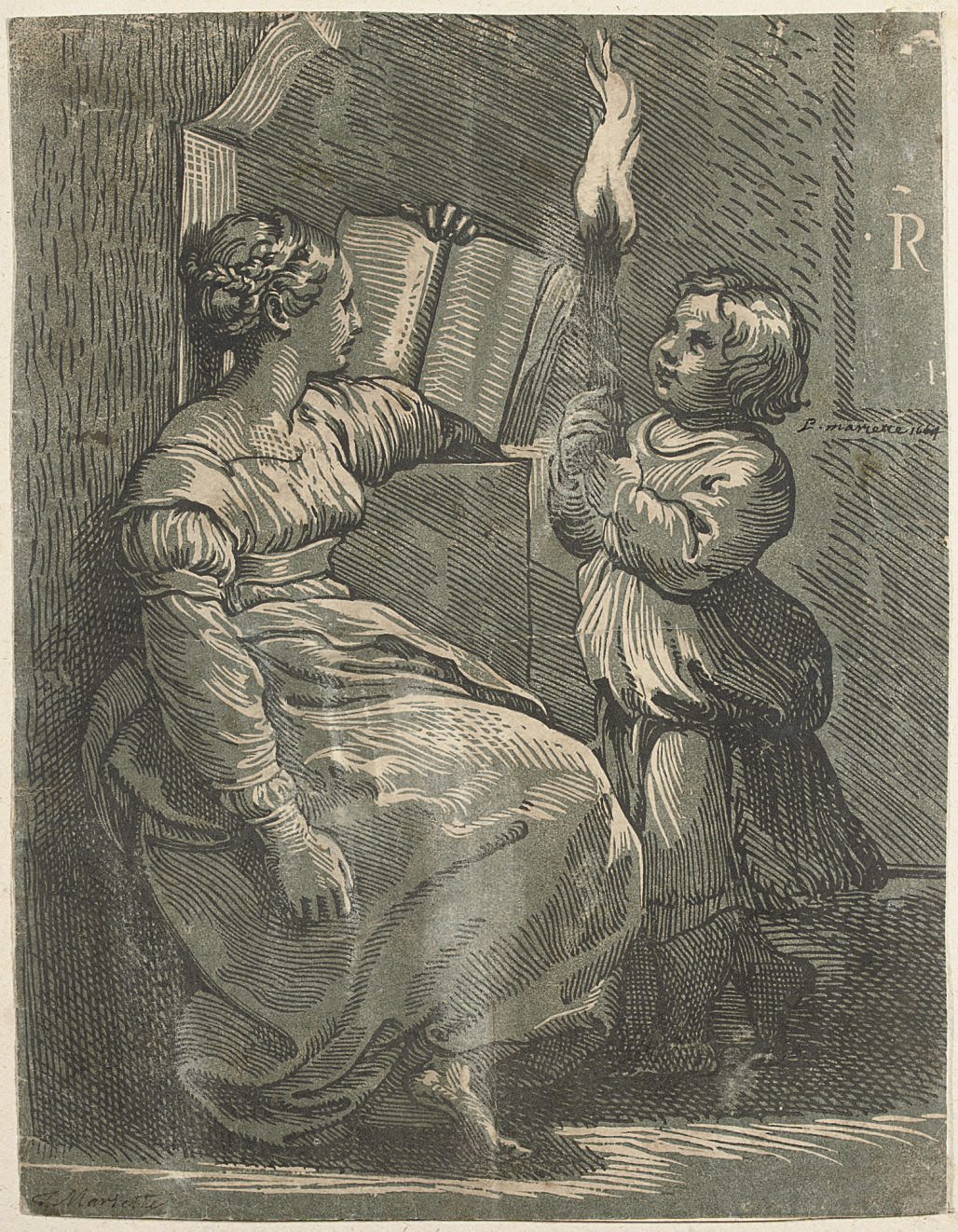 A Sybil with a Child holding a Torch (B. 6; cf. Servolini 2)