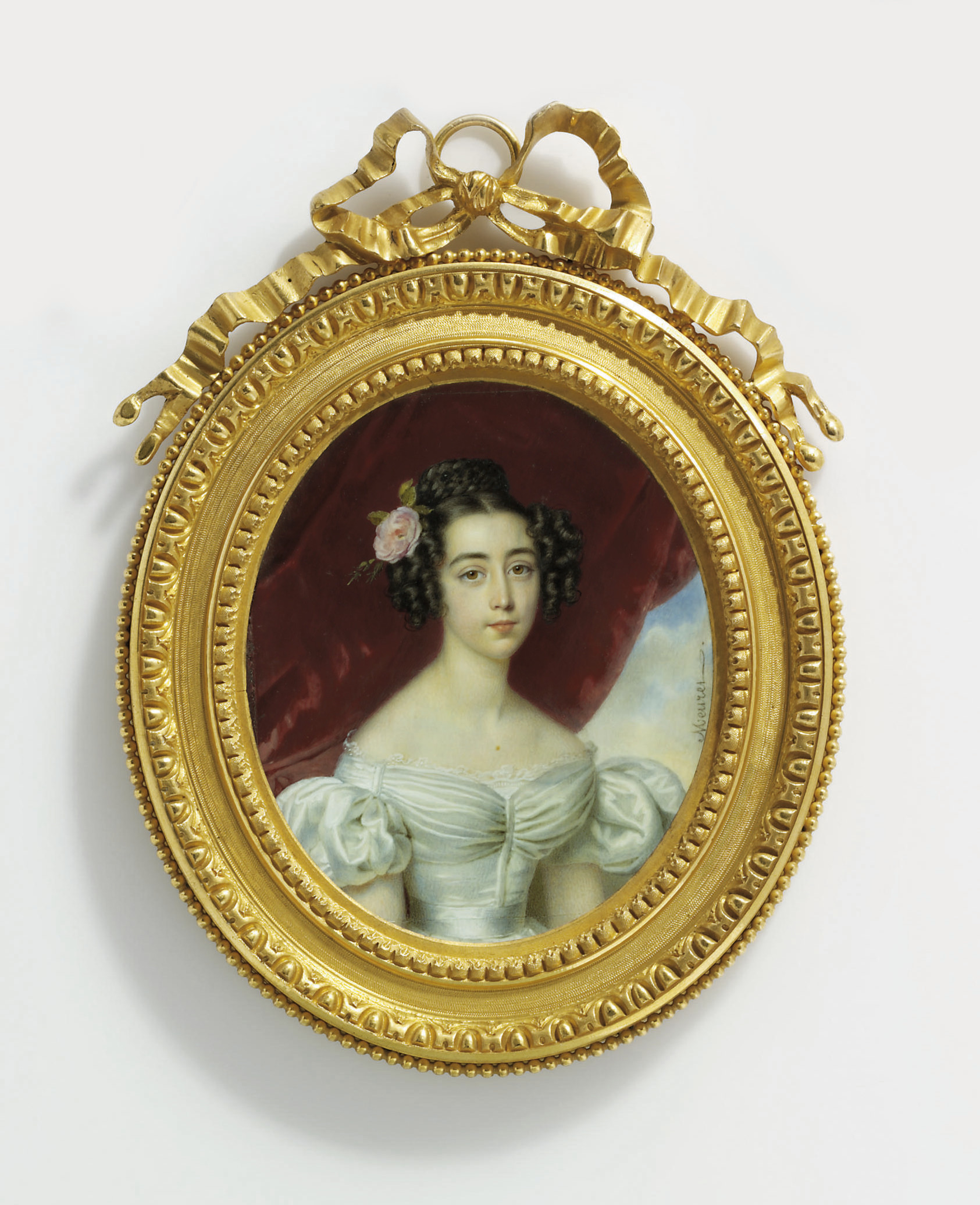 The Marquise de Mesgrigny, in low-cut white dress with short bouffant sleeves and white frill-edged shift, white satin sash, her centre-parted dark hair dressed in ringlets and plaited bun, adorned with pink rose; curtain and sky background