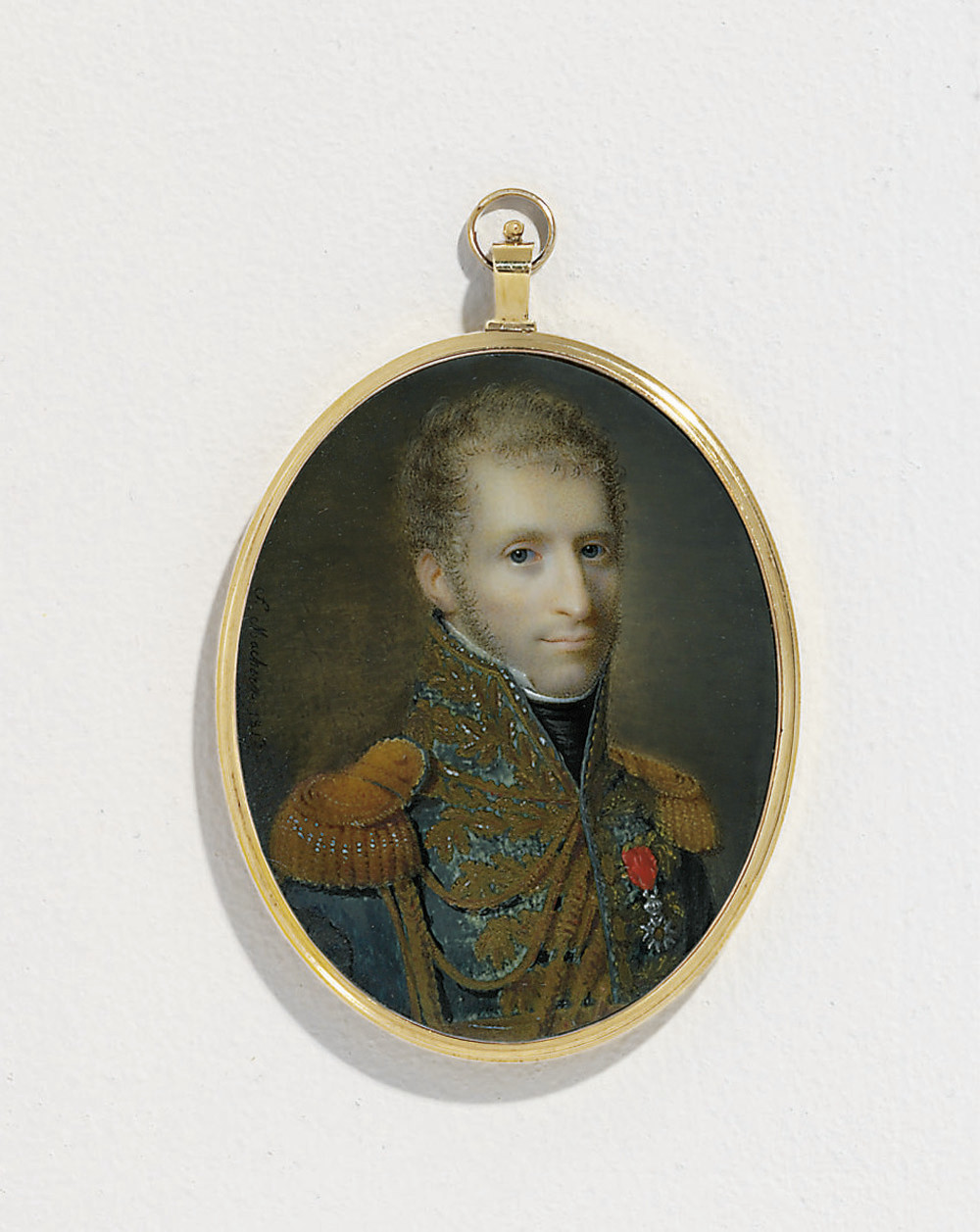 A young General or Marshal, in blue uniform with gold laurel embroidery and buttons, gold epaulettes and aiguillettes, black stock, white linen shirt with stand-collar, wearing the badge of the Imperial French Order of the Legion of Honour