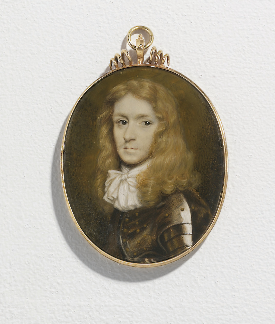 A young gentleman, in plate armour comprised of cuirass and spaulders secured with gilt rivets, elaborately tied white linen cravat, long curling fair hair