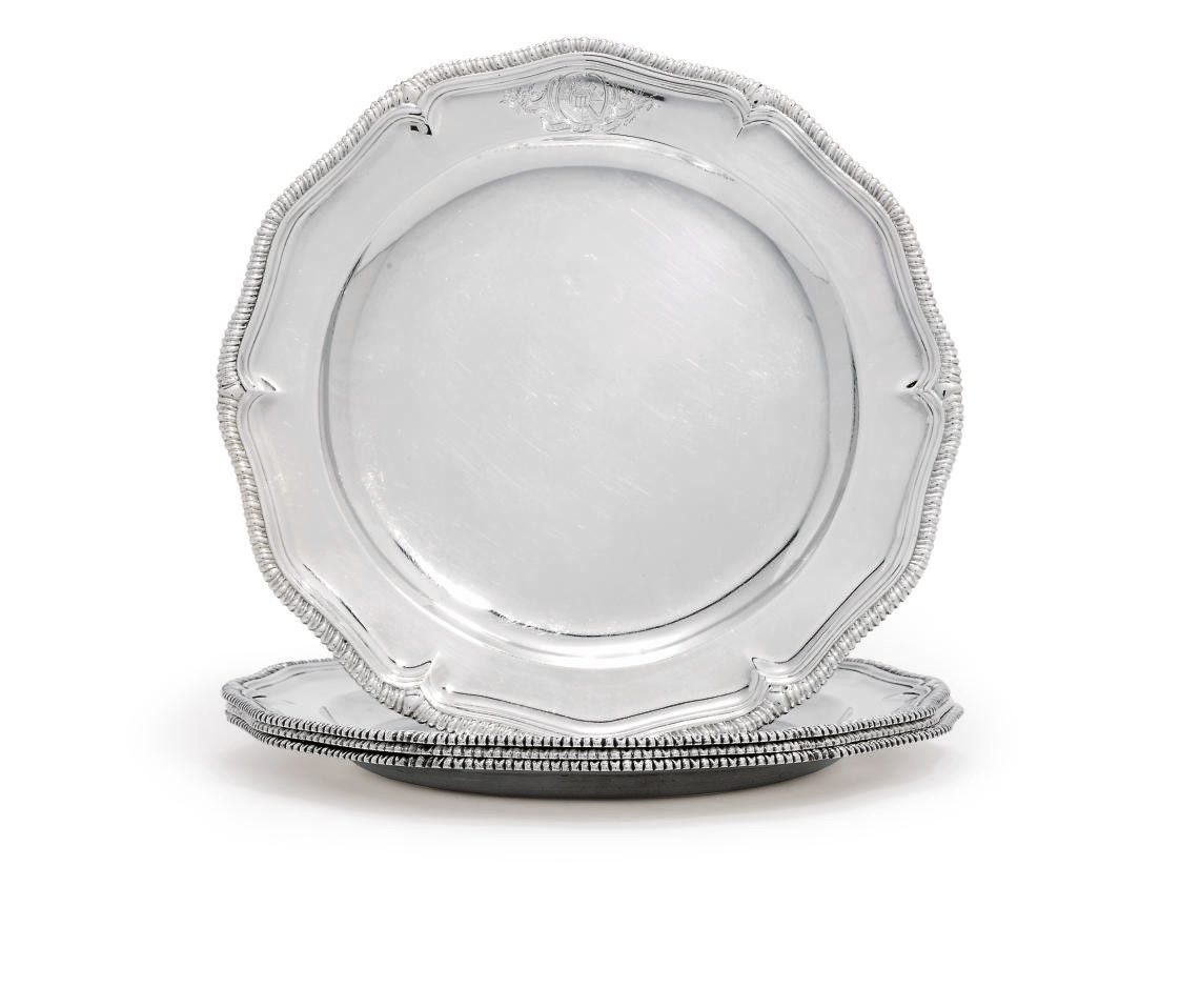 A SET OF FOUR GEORGE II SILVER SECOND-COURSE DISHES