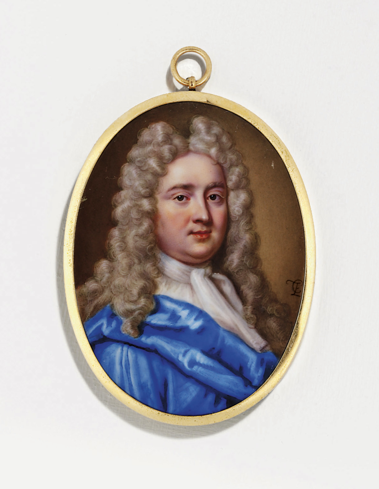 A superb enamel of a gentleman, in blue satin morning-gown, white linen shirt and cravat, powdered periwig