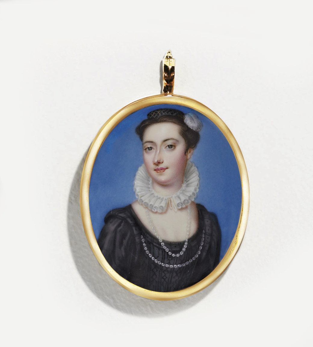 Mary Campbell, née Bellenden (bap. 1685, d. 1736), in black Renaissance-style dress, pearl strand suspended across the bodice, pearl necklace, white ruff with lace band, a gold embroidered black cap with white feather in her upswept dark brown hair