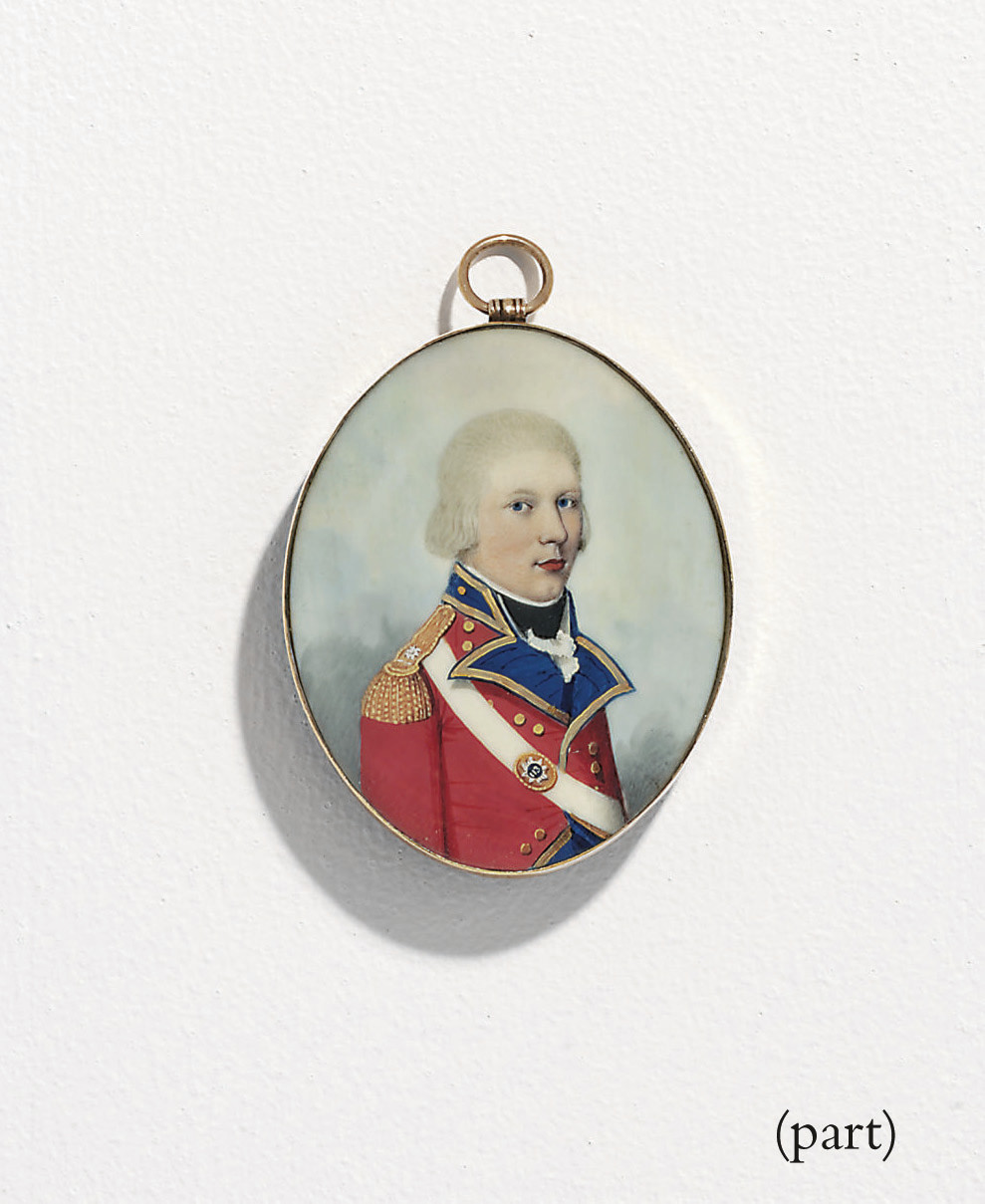 Two miniatures: a soldier of the 113th Regiment of Foot, in red coat with dark blue facing, trimmed with gold piping and gold epaulette, black stock and white frilled cravat, white shoulder belt with gilt belt plate centred with '113', powdered hair; sky background; together with Charlotte Goring Atkins, or her sister Henrietta, in white muslin dress with pleated bodice, puffed sleeves, Valenciennes lace bordering the square neckline, blue satin sash, gold pendant earring, her centre-parted brown hair upswept into a plaited topknot with side ringlets; sky background
