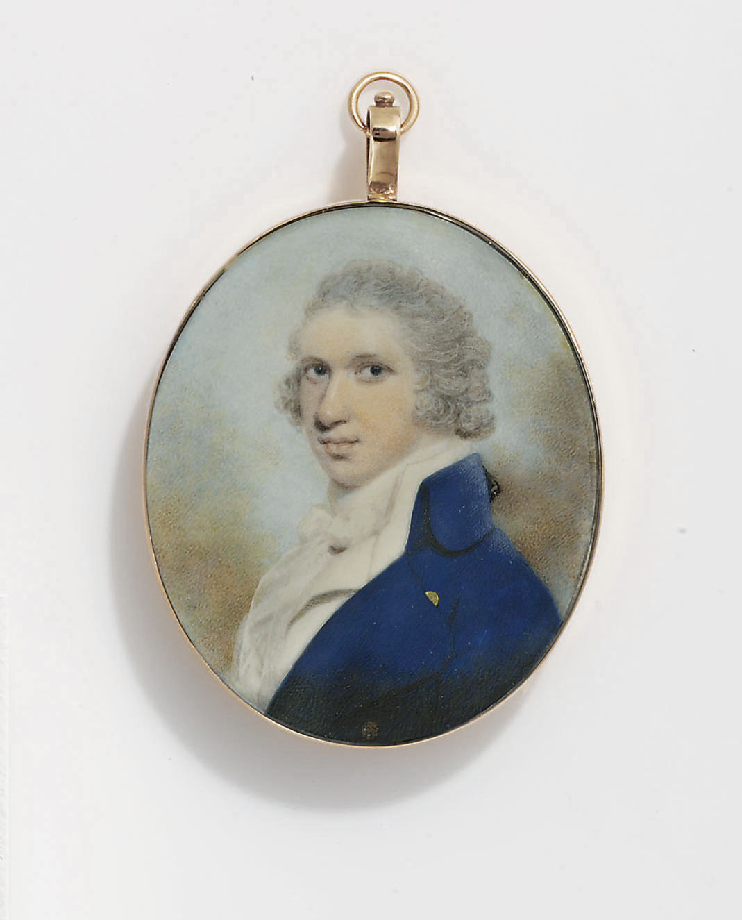 A young gentleman, in dark blue coat, white waistcoat, white frilled muslin shirt and bowed cravat, powdered curling wig with black silk bag; sky background