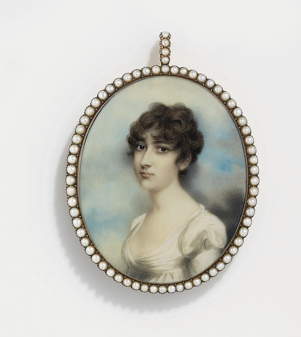A young lady, in white muslin day dress with puffed sleeves, her curling chestnut hair worn à l'antique; sky background