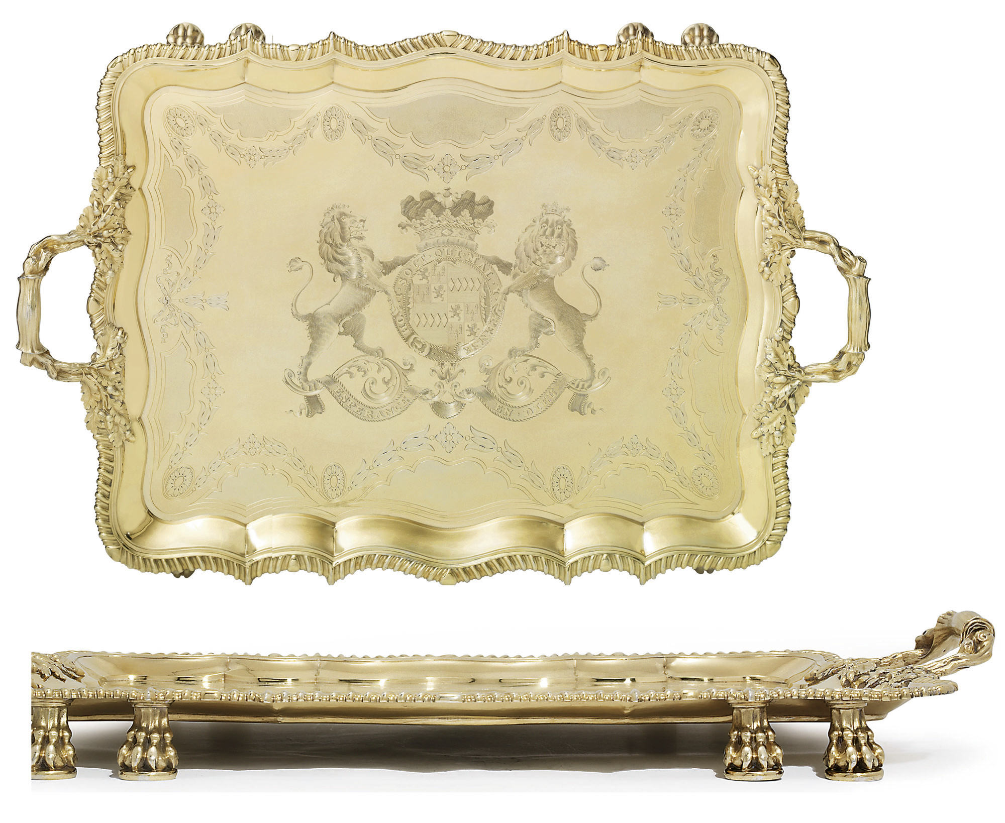 AN IMPORTANT GEORGE IV SILVER-GILT TRAY