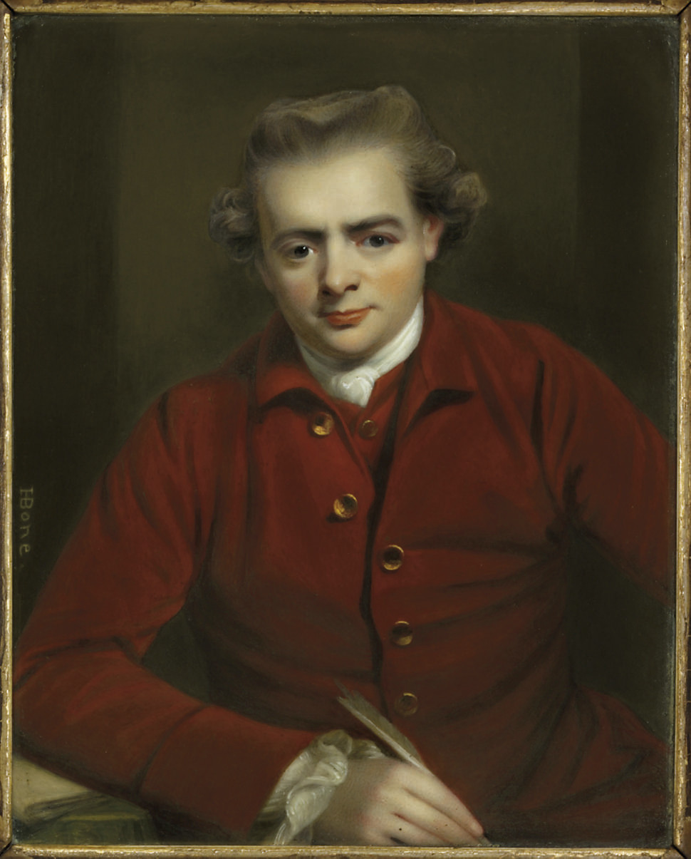 John Gawler (1727-1803), in red jacket and waistcoat with gold buttons, fine linen shirt, knotted cravat, holding a quill in his right hand and resting his arm on a book positioned upon a table