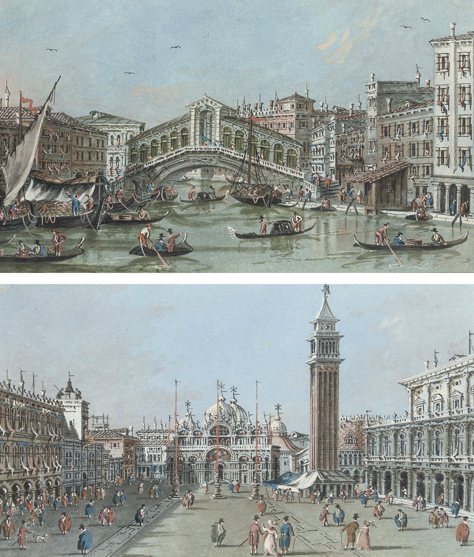 View of the Rialto Bridge, Venice; and View of the Piazza San Marco, Venice