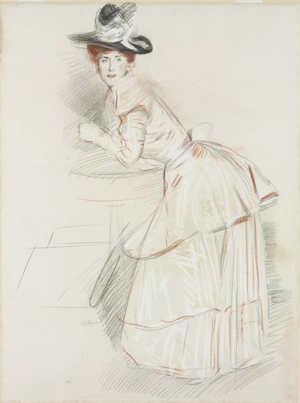 A woman leaning on a guéridon