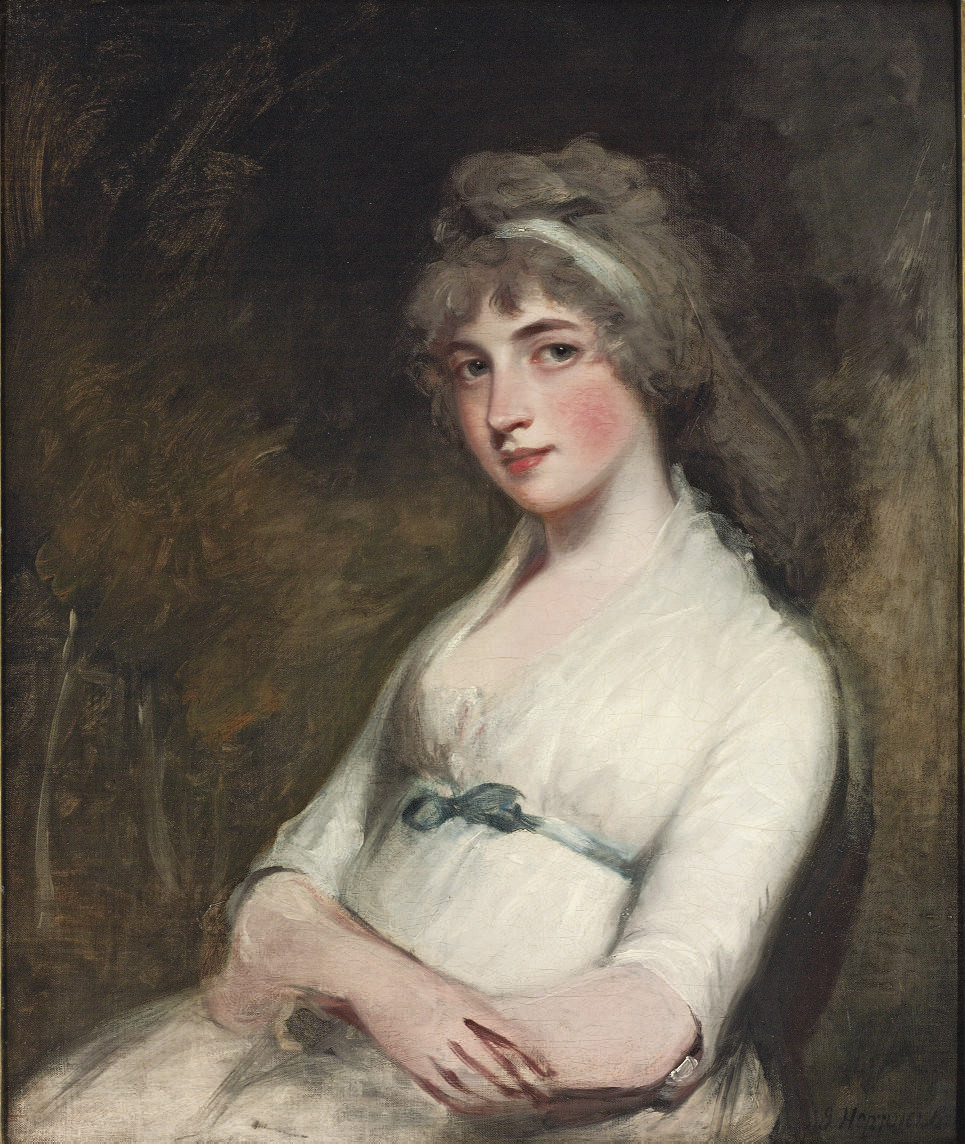 Portrait of Anne, Lady Grenville, née Pitt (1772-1864), half-length, in white with a blue sash