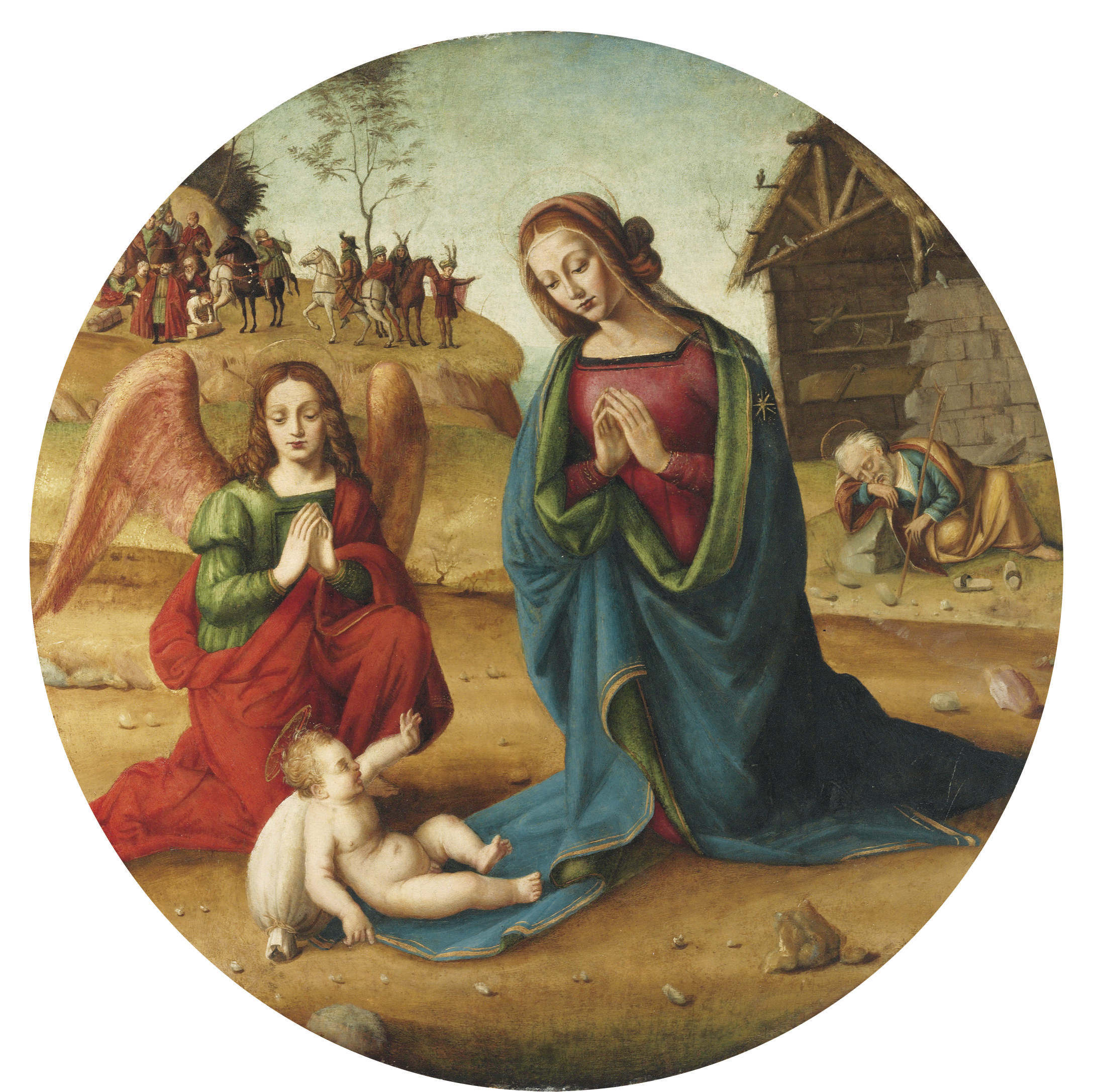 The Holy Family with an adoring Angel, the manger and the retinue of the Magi beyond