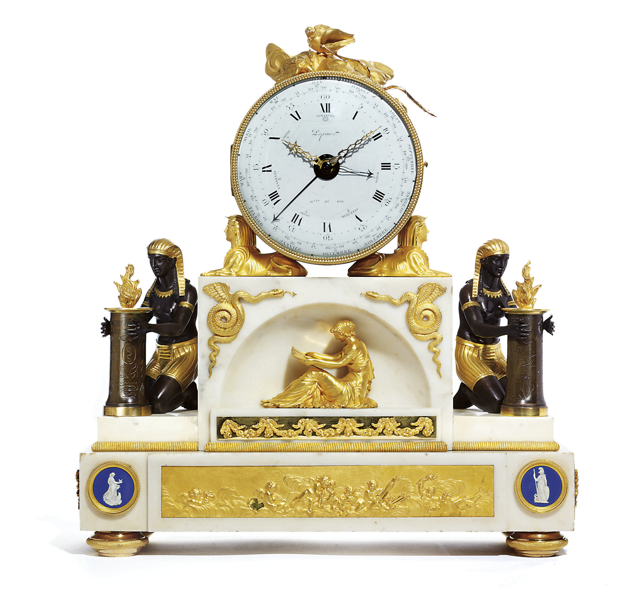 A LOUIS XVI LARGE ORMOLU, PATINATED BRONZE AND WHITE MARBLE STRIKING MANTEL CLOCK