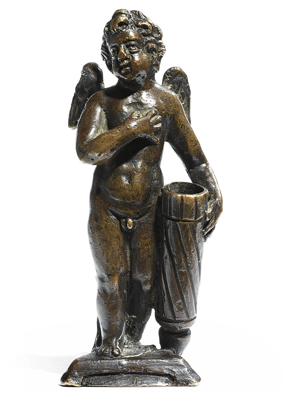 A BRONZE QUILL-HOLDER IN THE FORM OF CUPID