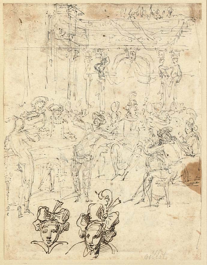 Musicians and a Harlequin performing at a banquet (recto); A nobleman and his entourage (verso)