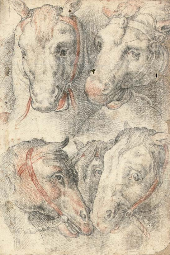 Five studies of a horse's head (recto); Three studies of men's heads (verso)