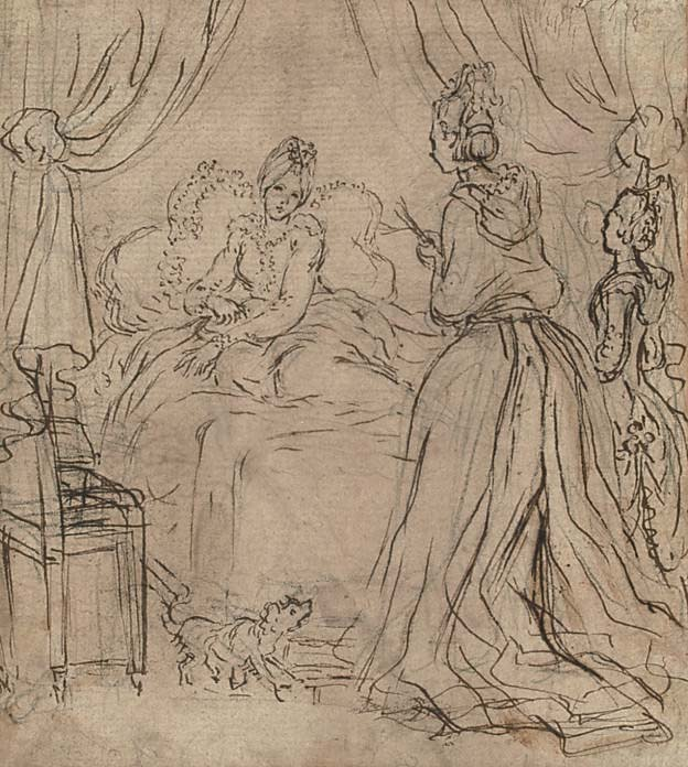 A lady receiving visitors in bed