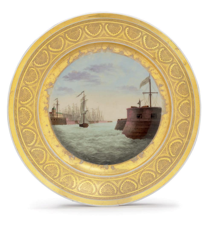 A Porcelain Plate Depicting The St Petersburg Harbour