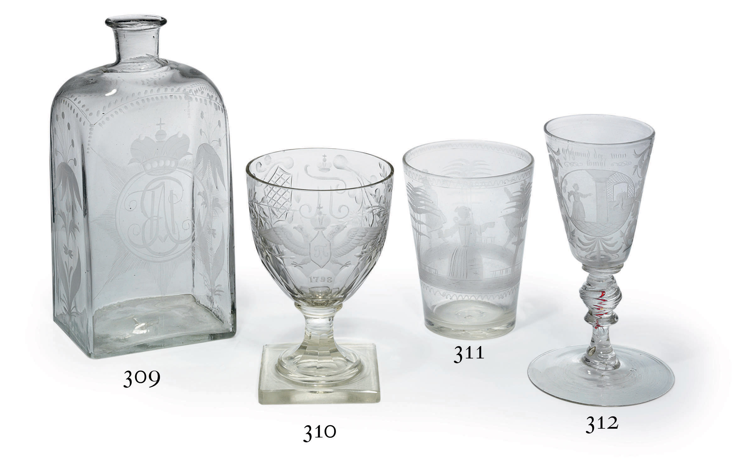 A Very Rare Clear Glass Etched Tumbler