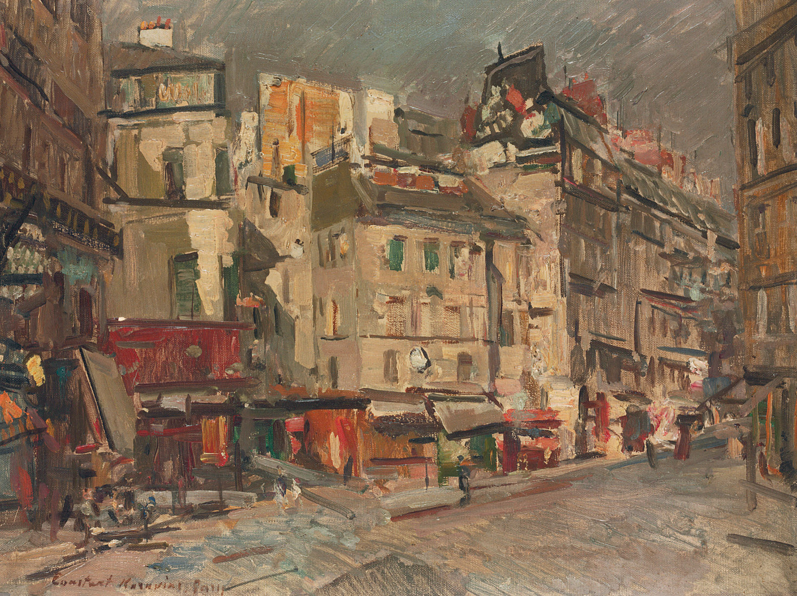 Paris street view at dusk