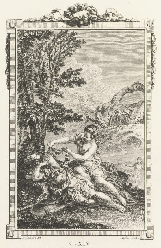"""TASSO, Torquato (1544-95).  La Gerusalemme Liberata. Paris: """"Appresso Agostino Delalain, Pietro Durand, Gio. Claudio Molini,"""" 1771. 2 volumes, 8°. Engraved frontispieces, dedication and 29 plates, vignettes and culs du lampe. Contemporary red morocco gilt, gilt edges (extremities lightly rubbed, some small scuff marks to upper cover of vol. II). Brunet V, 667: """"Assez belle édition""""; Cohen-de Ricci 974.  (2)"""