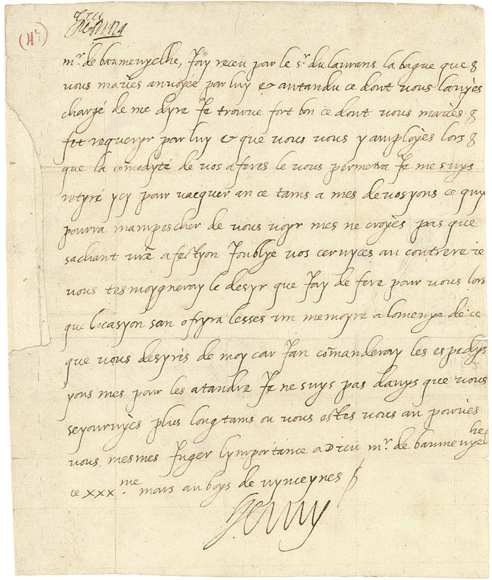 HENRI IV (1589-1610), King of France. Autograph letter signed to Monsieur de Baumevielle, 'au boys de vynceynes', 30 March [1602], acknowledging a ring sent by hand of Seigneur Laurens, adding that 'Je me suys retyré ycy pour vacquer an ce tams a mes devosyons ce quy pourra mampescher de vous voyr', but he has not forgotten his correspondent's services and will recompense them in time, one page, 4to.