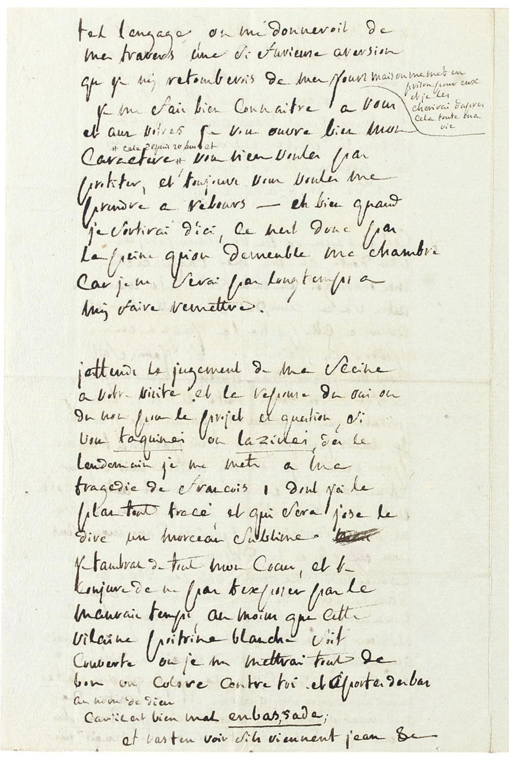 SADE, Donatien Alphonse François, Marquis de (1740-1814). Autograph letter signed (with a complicated and untranslatable pun on his obsession with embassies, 'Et aportes des bas au nom de dieu  Car il est bien mal en bas, sade'), to his wife ('ma chere amie'), n.p. [Vincennes], n.d. [February 1784], 4 pages, 8vo.