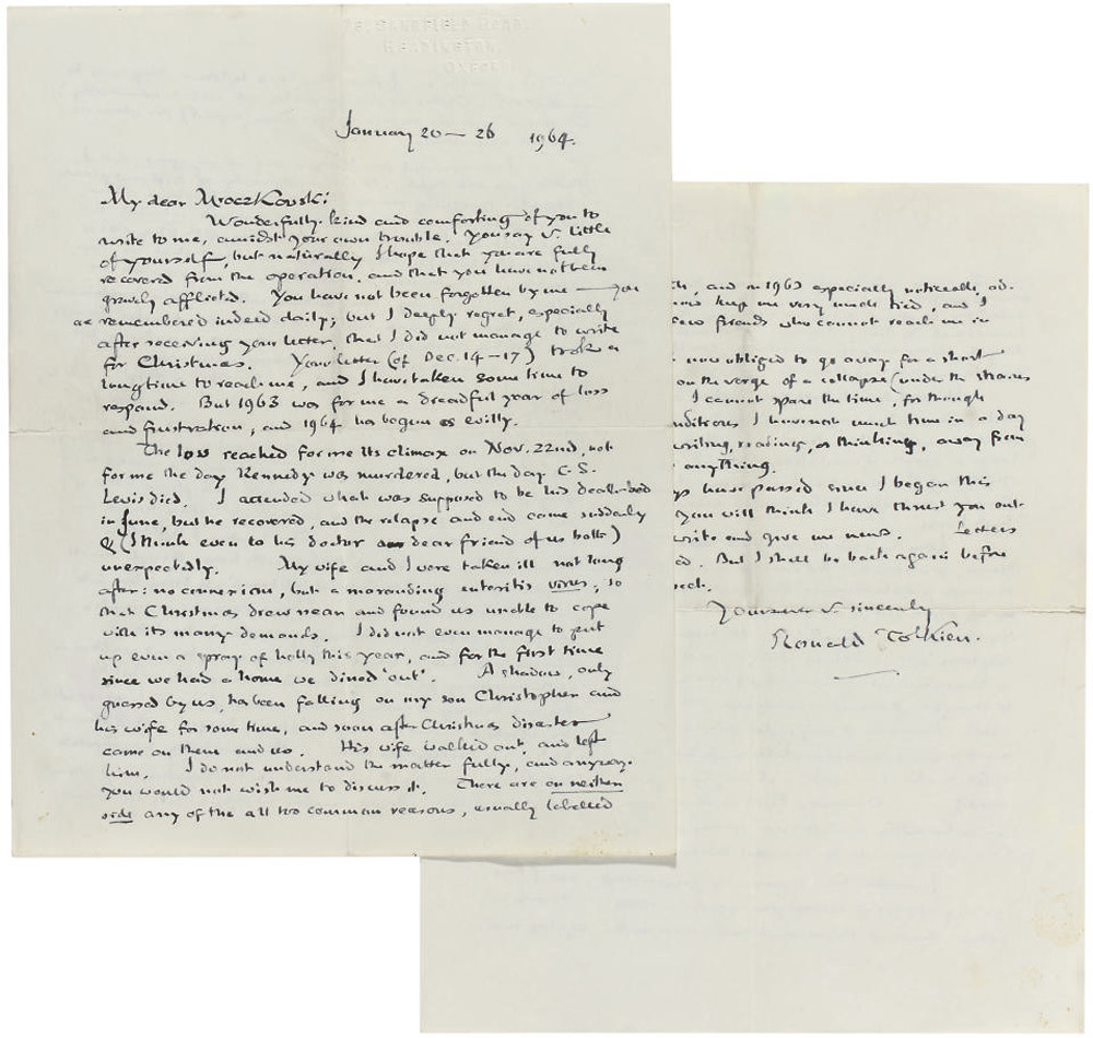 TOLKIEN, John Ronald Reuel (1892-1973). A series of eight autograph letters signed and one typed letter signed ('J.R.R.T.', 'J.R.R. Tolkien', 'Ronald Tolkien', one unsigned) to Professor Przemyslaw Mroczkowski, one to Mrs Mrockzkowska, Bournemouth, Headington and n.p., 2 August 1946 - 10 April 1969, together 13 pages, 8vo and 4to, in autograph, and 2 pages, 4to, typescript, envelope; with a typescript of an essay by Mroczkowski on the New Robinson Chaucer with very extensive corrections in Tolkien's hand, commentary at the end on approx 2 pages, 4to; [with] two autograph letters signed to the Mroczkowskis by C.S. Lewis, 8 March and 13 May 1958, arranging a meeting and discussing a Polish translation of one of his books, 1½ pages, 8vo and 4to. Provenance: by descent from the recipients.