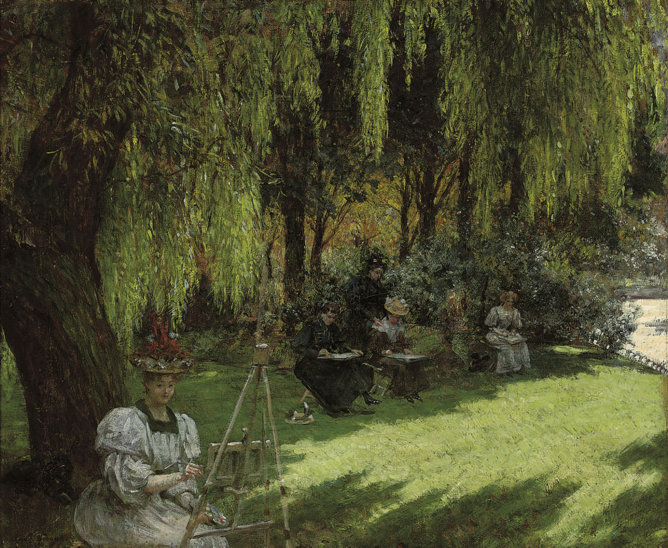 An art class in the shade
