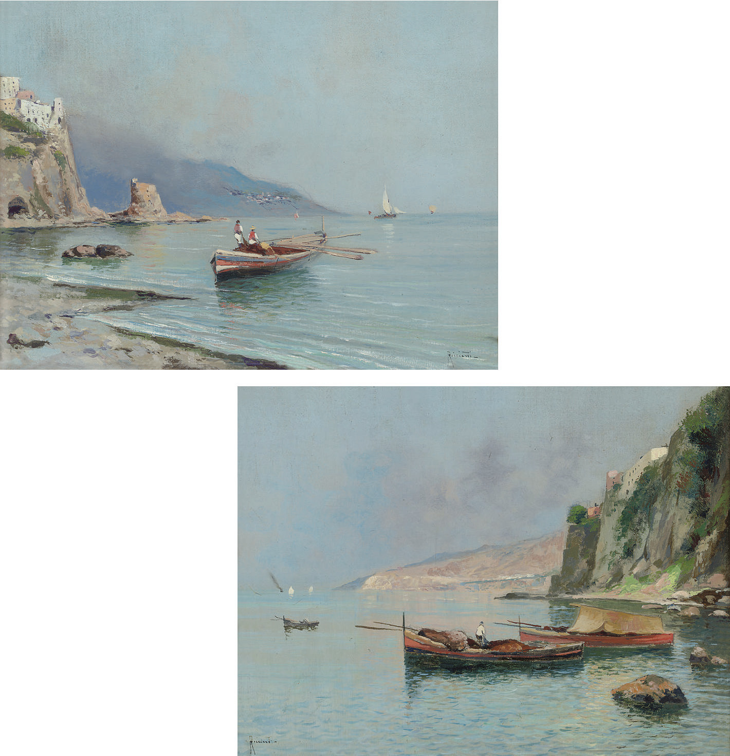 Fishing boats on Neapolitan coast, a pair