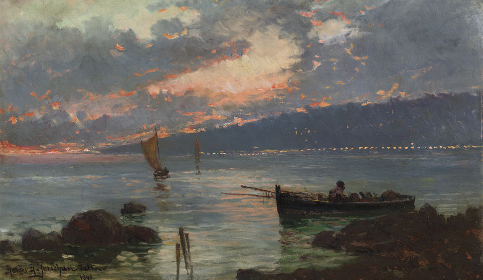 Sailing boats at twilight in Jalta, Ukraine