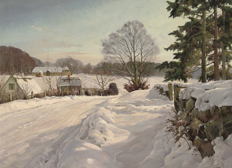 Farmsteads in the snow
