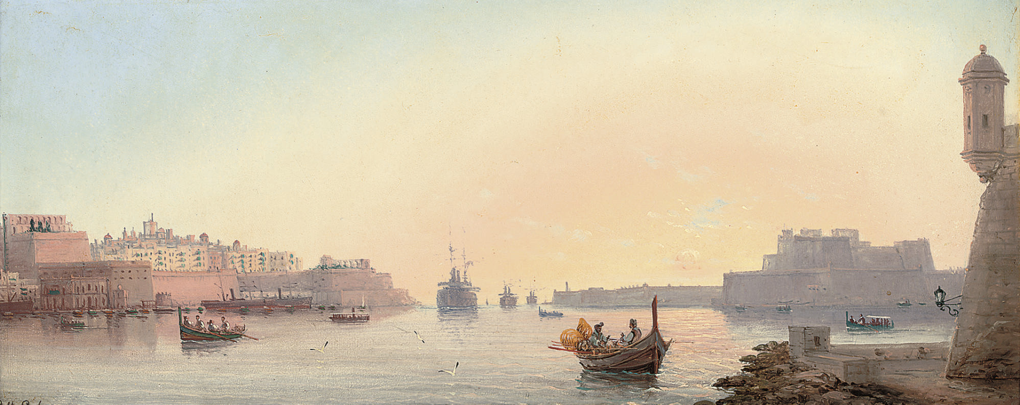 A convoy entering Valetta harbour