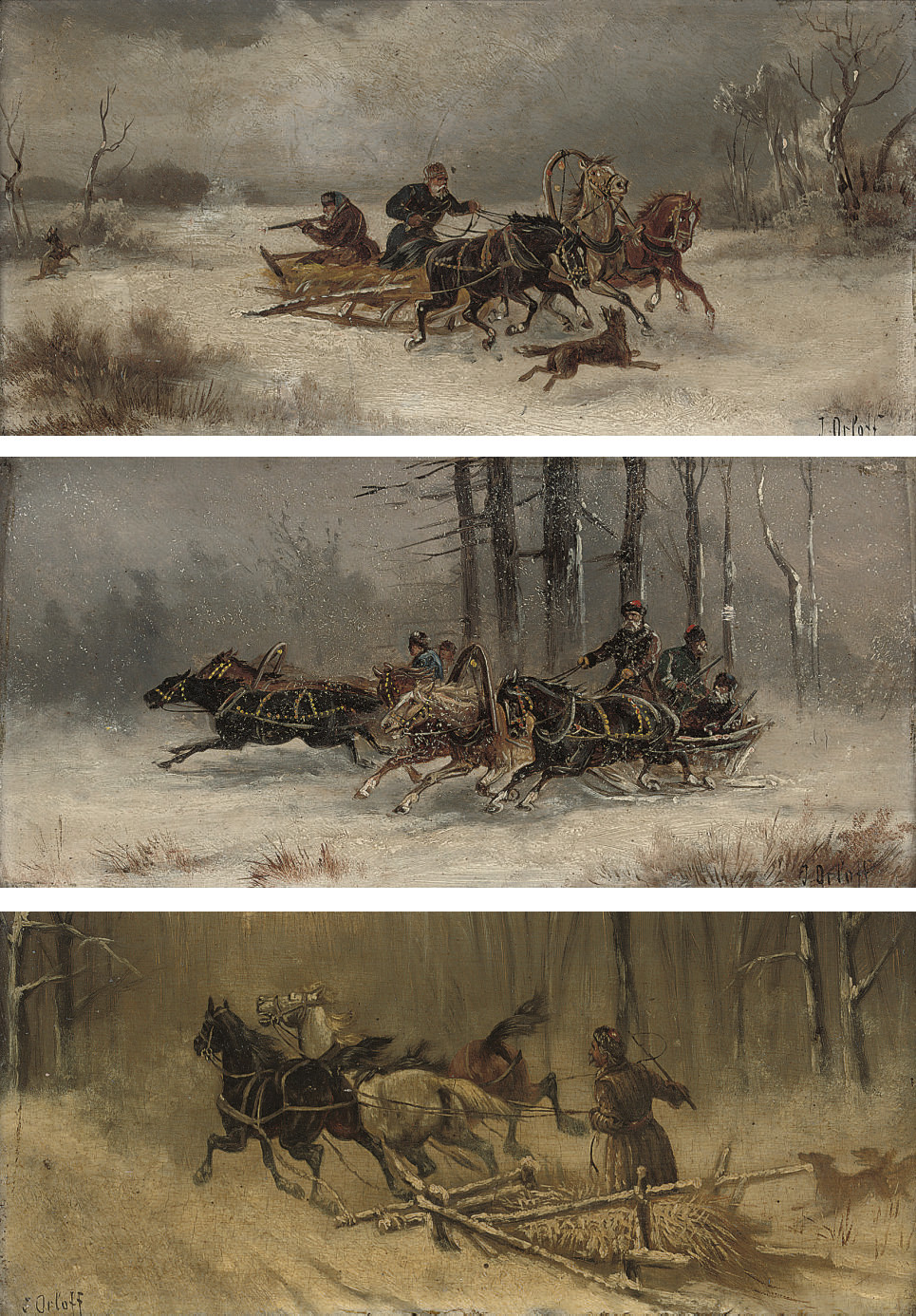 Running from the wolves; Running through the forest; and Troikas in the snow