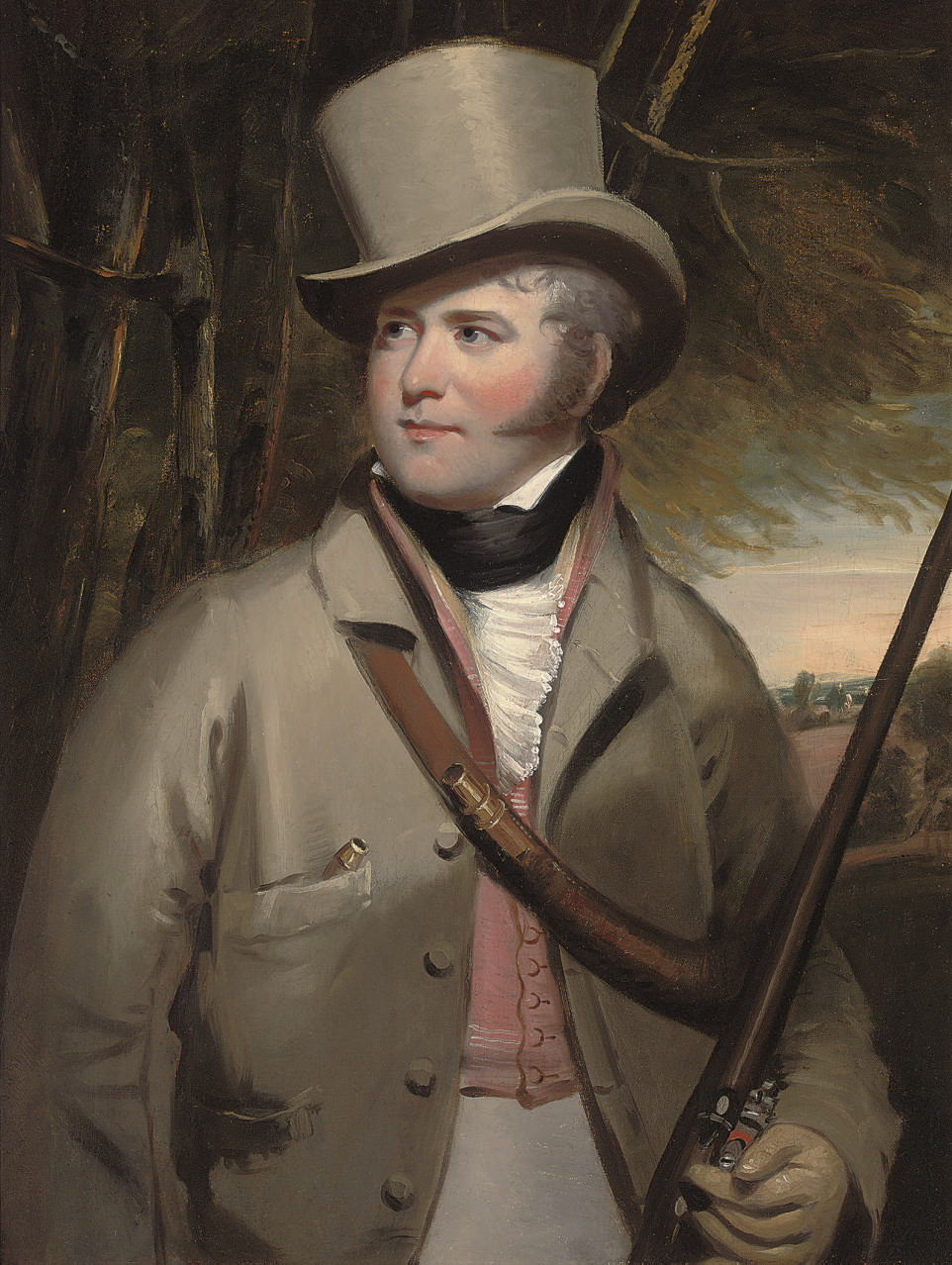Portrait of a gentleman, half-length, with sporting gun in a landscape