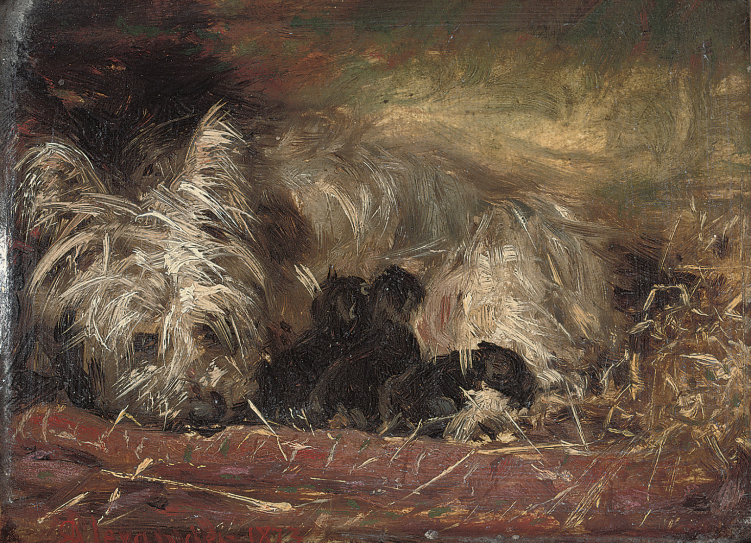 A terrier and puppies in a stable