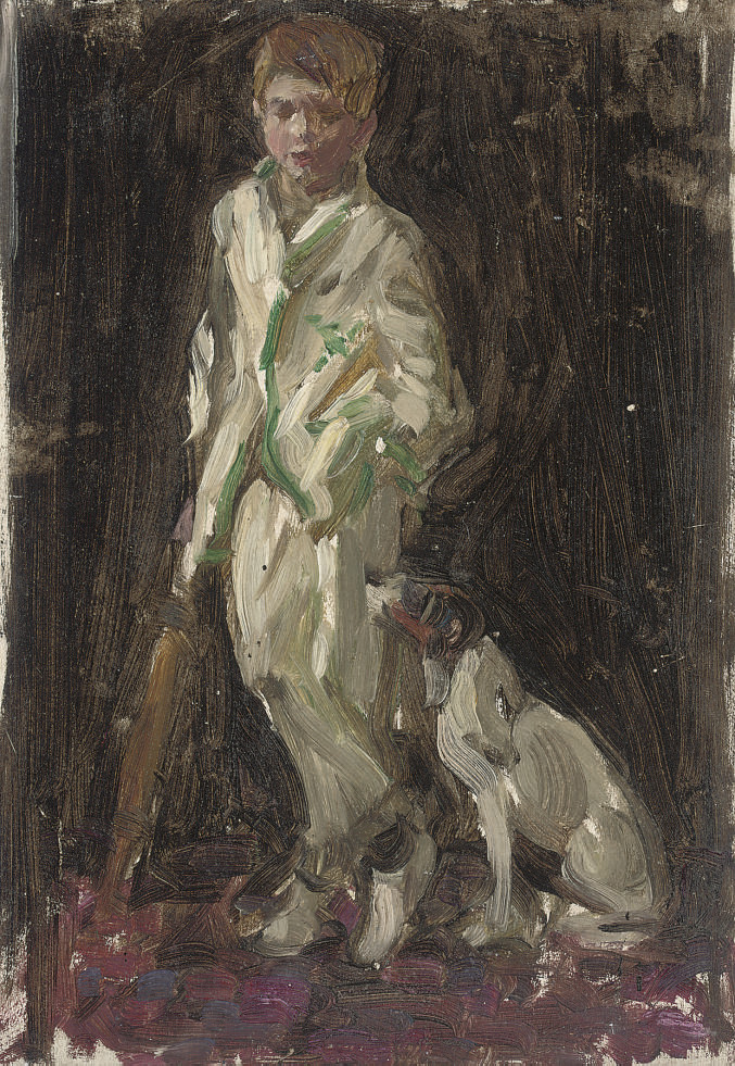 Study of young boy, traditionally identified as the artist's son, in cricket whites, a bat in his right hand, and a dog by his side