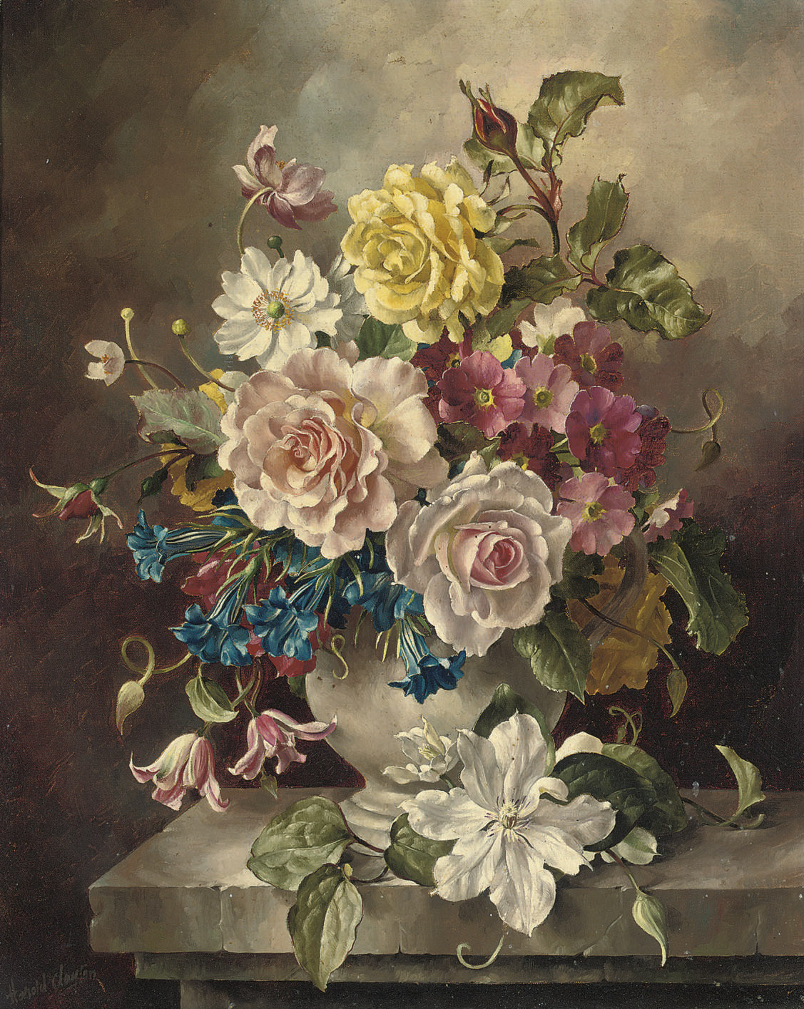 Roses, convolvulus, and other flowers in a vase, on a ledge