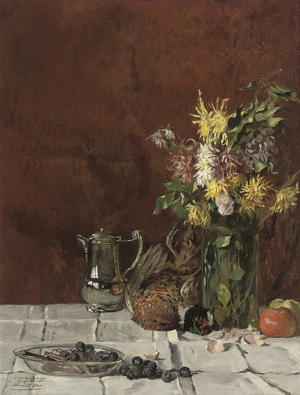 A bowl of grapes, a silver coffee pot, a pheasant, a vase of flowers and apples on a draped table