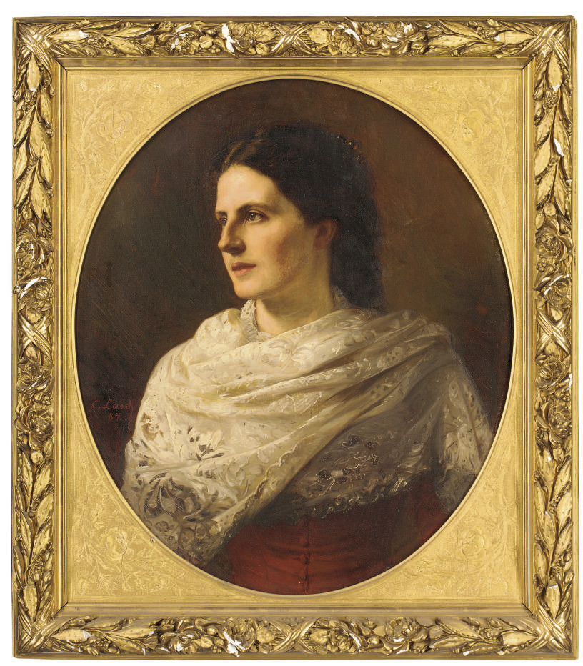 Portrait of a young lady, bust-length, in a lace shawl, in an oval mount